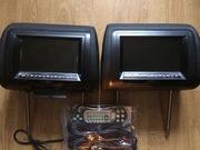 Мониторы-подголовники с DVD, USB/SD, AUX,  цвет чёрный под кожу